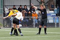 Kent FA U14 Girls Youth Cup Final. Bromley FC (white & Black) V Maidstone United (Amber & Black)