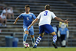 28 August 2016: North Carolina's Cam Lindley (5) and Saint Louis's Max Karcher (3). The University of North Carolina Tar Heels hosted the Saint Louis University Billikens at Fetter Field in Chapel Hill, North Carolina in a 2016 NCAA Division I Men's Soccer match. UNC won the game 3-0.