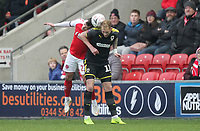 Fleetwood Town's Ross Wallace battles with AFC Wimbledon's Mitch Pinnock<br /> <br /> Photographer Mick Walker/CameraSport<br /> <br /> Emirates FA Cup Third Round - Fleetwood Town v AFC Wimbledon - Saturday 5th January 2019 - Highbury Stadium - Fleetwood<br />  <br /> World Copyright © 2019 CameraSport. All rights reserved. 43 Linden Ave. Countesthorpe. Leicester. England. LE8 5PG - Tel: +44 (0) 116 277 4147 - admin@camerasport.com - www.camerasport.com