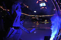 San Antonio Rampage goaltender Jacob Markstrom takes the ice before the first period of an AHL hockey game against the Utica Comets, Monday, Jan. 13, 2014, in San Antonio (Darren Abate/AHL)