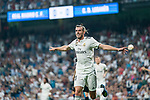 Gareth Bale of Real Madrid celebrates scoring the first goal for his team during the La Liga 2018-19 match between Real Madrid and CD Leganes at Estadio Santiago Bernabeu on September 01 2018 in Madrid, Spain. Photo by Diego Souto / Power Sport Images