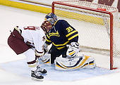 Chris Kreider (BC - 19), Joe Cannata (Merrimack - 35) - The Boston College Eagles defeated the Merrimack College Warriors 7-0 on Tuesday, February 23, 2010 at Conte Forum in Chestnut Hill, Massachusetts.