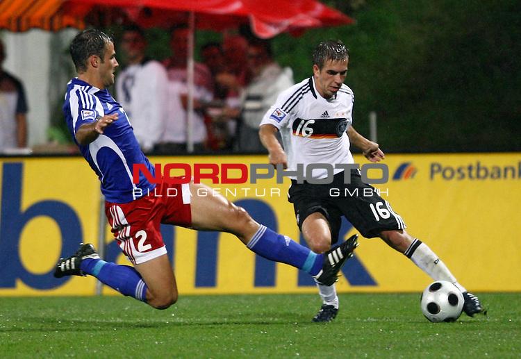 WM-Qualifikation 2010<br /> Lichtenstein : Deutschland<br /> <br /> Marco Ritzberger (Lichtenstein #2) gegen Philipp Lahm (Deutschland #16)<br /> <br /> Foto &copy; nph (  nordphoto  )