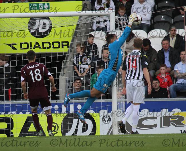 Chris Dilo saving in the St Mirren v Heart of Midlothian Scottish Professional Football League Premiership match played at St Mirren Park, Paisley on 10.5.14.