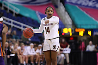 GREENSBORO, NC - MARCH 6: Marnelle Garraud #14 of Boston College runs the offense during a game between Clemson and Boston College at Greensboro Coliseum on March 6, 2020 in Greensboro, North Carolina.