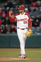 NWA Democrat-Gazette/ANDY SHUPE<br /> Arkansas starter Isaiah Campbell reacts to the final Missouri out Friday, March 15, 2019, during the third inning at Baum-Walker Stadium in Fayetteville. Visit nwadg.com/photos to see more photographs from the game.