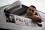 George Saadeh, 2009 Palestine speed test champion, prepares his car at a garage in Beit Jala, near Bethlehem on 18/05/2009.