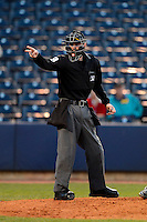 Umpire Jeff Morrow during a game between the Akron Aeros and Trenton Thunder on April 22, 2013 at Canal Park in Akron, Ohio.  Trenton defeated Akron 13-8.  (Mike Janes/Four Seam Images)