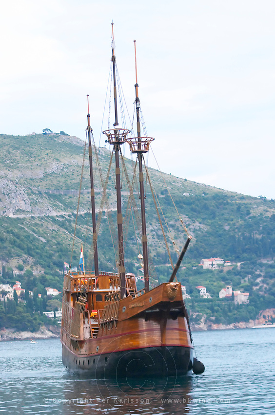 The Karaka 16 century galleon replica boat in the old harbour Dubrovnik, old city. Dalmatian Coast, Croatia, Europe.