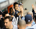 Masahiro Tanaka (Yankees), JUNE 11, 2014 - MLB : Masahiro Tanaka of the New York Yankees hi-fives with his team mates during the Major League Baseball game against the Seattle Mariners at Safeco Field in Seattle, Washington, United States. (Photo by AFLO)