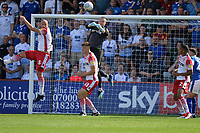 Paul Farman of Stevenage punches a cross during Stevenage vs Tranmere Rovers, Sky Bet EFL League 2 Football at the Lamex Stadium on 4th August 2018