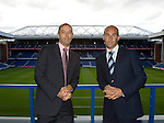 Paul Le Guen and Martin Bain as the Ibrox main stand is renamed as the Bill Struth Main Stand