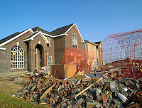 New home construction in suburban development. Construction debris at new home site. Houston Texas.