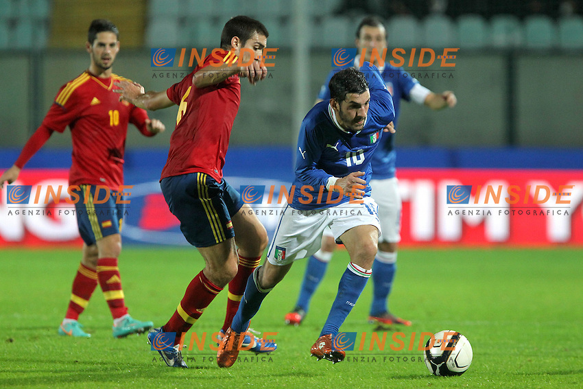 "Riccardo Saponara e Oriol.Siena 13/11/2012 Stadio ""Franchi"".Football Calcio Nazionale U21.Italia v Spagna.Foto Insidefoto Paolo Nucci."