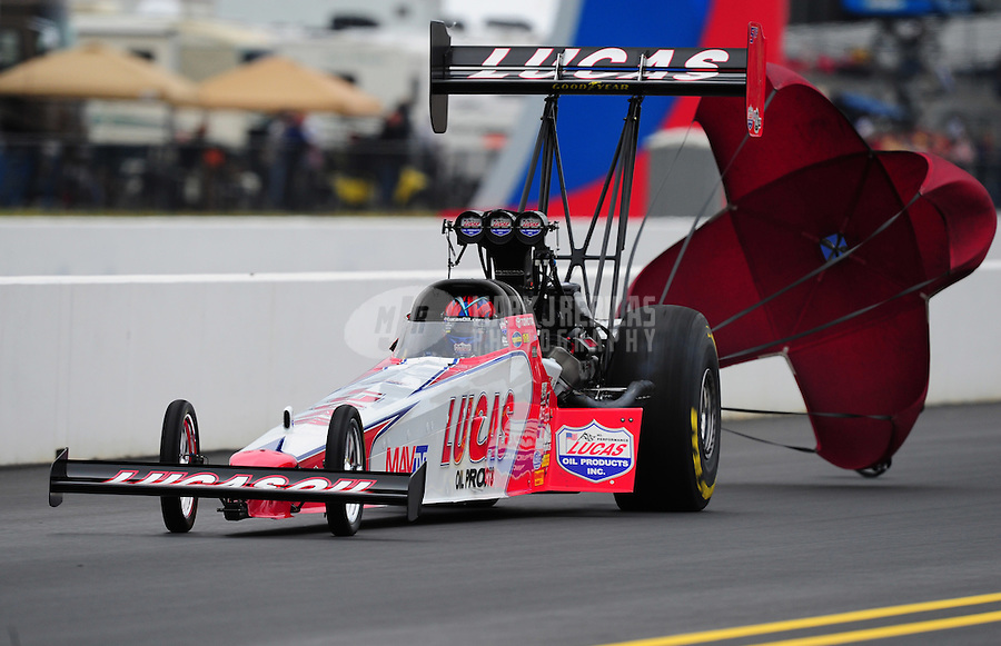 Sept. 17, 2011; Concord, NC, USA: NHRA top fuel dragster driver Shawn Langdon during qualifying for the O'Reilly Auto Parts Nationals at zMax Dragway. Mandatory Credit: Mark J. Rebilas-