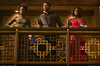 Black Panther (2018)<br /> L to R: Marvel Studios' BLACK PANTHER..L to R: Nakia (Lupita Nyong'o), T'Challa/Black Panther (Chadwick Boseman) and Okoye (Danai Gurira)<br /> *Filmstill - Editorial Use Only*<br /> CAP/KFS<br /> Image supplied by Capital Pictures