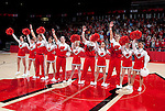 """Wisconsin Badgers cheerleaders sing """"Varsity"""" during an NCAA college women's basketball game against the Duke Blue Devils during the ACC/Big Ten Challenge at the Kohl Center in Madison, Wisconsin on December 2, 2010. Duke won 59-51. (Photo by David Stluka)"""