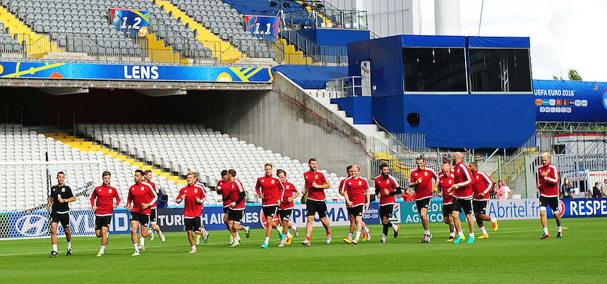 Wales players warm-up during todays training session<br /> <br /> Photographer Kevin Barnes/CameraSport<br /> <br /> International Football - 2016 UEFA European Championship - Training Session - Group B - England v Wales - Wednesday, 15th June 2016 - Stade Bollaert-Delelis, Lens Agglo, France<br /> <br /> World Copyright &copy; 2016 CameraSport. All rights reserved. 43 Linden Ave. Countesthorpe. Leicester. England. LE8 5PG - Tel: +44 (0) 116 277 4147 - admin@camerasport.com - www.camerasport.com