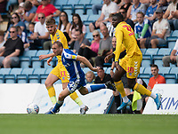 Gillingham's Barry Fuller (centre) under pressure from Bolton Wanderers Jordan Boon (left) & Yoan Zouma (right) <br /> <br /> Photographer David Horton/CameraSport<br /> <br /> The EFL Sky Bet League One - Gillingham v Bolton Wanderers - Saturday 31st August 2019 - Priestfield Stadium - Gillingham<br /> <br /> World Copyright © 2019 CameraSport. All rights reserved. 43 Linden Ave. Countesthorpe. Leicester. England. LE8 5PG - Tel: +44 (0) 116 277 4147 - admin@camerasport.com - www.camerasport.com