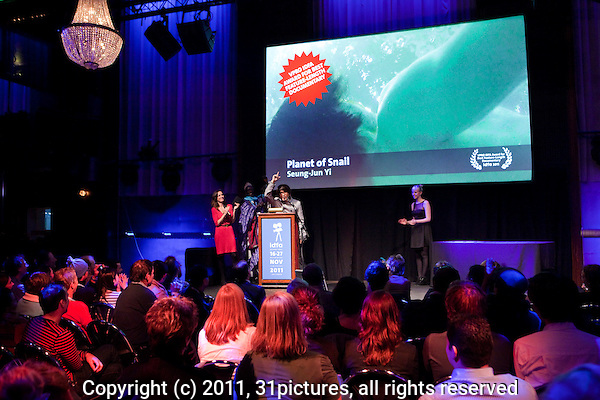 The Netherlands, Amsterdam, 25 November 2011. The Award ceremony International Documentary Film Festival Amsterdam 2011. Seung-Jun Yi, winner Feature Length Competition with 'Planet of Snail'. Photo: 31pictures.nl / (c) 2011, www.31pictures.nl