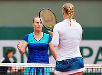 France, Paris , May 26, 2015, Tennis, Roland Garros, Kiki Bertens (NED) Loosing to Svetlana Kuznetsova (RUS) (L)<br /> Photo: Tennisimages/Henk Koster