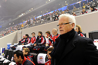 New York Red Bulls head coach Hans Backe. The New York Red Bulls  and the Houston Dynamo played to a 1-1 tie during a Major League Soccer (MLS) match at Red Bull Arena in Harrison, NJ, on April 02, 2011.