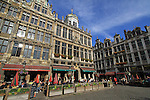 Belgium, Brussels.  <br /> Don't photograph buildings straight on. Compose to create diagonal lines to lead the viewer into your photo.  Generally, you want to see the front and a side, whether a building or a box. <br /> Restaurants in the Grand Place of Brussels, Belgium.