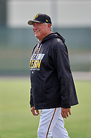 Pittsburgh Pirates manager Clint Hurdle watches minor league players during an Instructional League game against the Detroit Tigers October 6, 2017 at Pirate City in Bradenton, Florida.  (Mike Janes/Four Seam Images)