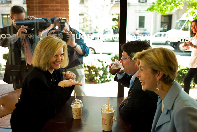 WASHINGTON, DC - April 18: United States Trade Representative Susan C. Schwab, left, Colombian Vice President Francisco Santos Calderón and Colombian Ambassador to the U.S. Carolina Barco talk during a photo op at Juan Valdez Coffee Company, on F Street NW, to highlight the Colombian Free Trade Agreement. The shop sells Colombian coffee. Colombia's top officials meanwhile have received no assurances that the pending free-trade agreement will come up for a vote this year, following last week's House vote to suspend action on the pact's implementing legislation. Calderón, who is in Washington to meet with business groups to garner support for the trade deal, said House Speaker Nancy Pelosi, D-Calif., has not made any promises to Colombia that Congress will vote on the trade pact (HR 5724) this year. (Photo by Scott J. Ferrell/Congressional Quarterly)