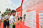 Mark Cavendish (GBR) Team Dimension Data signs on before the start of Stage 5 of the 2019 UAE Tour, running 181km form Sharjah to Khor Fakkan, Dubai, United Arab Emirates. 28th February 2019.<br /> Picture: LaPresse/Massimo Paolone | Cyclefile<br /> <br /> <br /> All photos usage must carry mandatory copyright credit (&copy; Cyclefile | LaPresse/Massimo Paolone)
