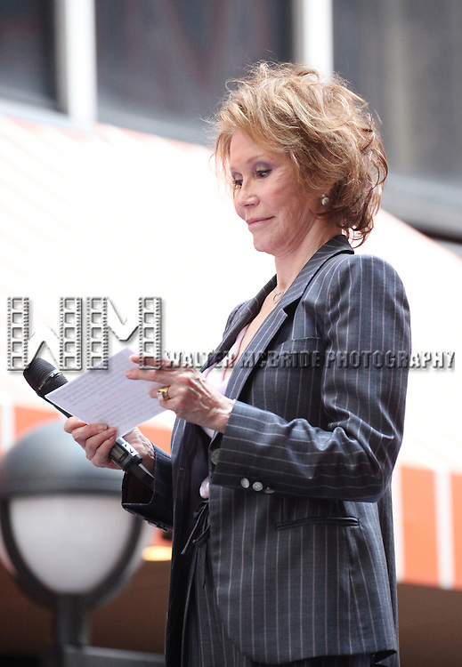 Mary Tyler Moore.onstage at Broadway Barks 14 at the Booth Theatre on July 14, 2012 in New York City. Marking its 14th anniversary, Broadway Barks!, founded by Bernadette Peters and Mary Tyler Moore helps many of New York City's shelter animals find permanent homes and also inform New Yorkers about the plight of the thousands of homeless dogs and cats in the metropolitan area.