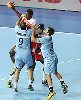 18.01.2013 Barcelona, Spain. IHF men's world championship, prelimanary round. Picture showWael Jallouz    in action during game between Arnetina vs Tunisia at Palau St Jordi