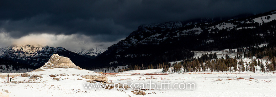 Soda Butte in snow. Near Soda Butte Creek and Lamar Valley. Yellowstone National Park, Wyoming, USA.