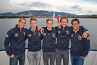 Swiss, Gen&egrave;ve, September 14, 2015, Tennis,   Davis Cup, Swiss-Netherlands, Dutch team on a boat trip on lake Geneve, ltr:  Thiemo de Bakker, Tim van Rijthoven, Tallon Griekspoor,  Matwe Midelkoop and Jesse Huta Galung.<br />