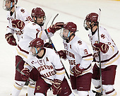 Colin White (BC - 18), Casey Fitzgerald (BC - 5), Austin Cangelosi (BC - 9), Ryan Fitzgerald (BC - 19), Scott Savage (BC - 2) - The visiting Merrimack College Warriors defeated the Boston College Eagles 6 - 3 (EN) on Friday, February 10, 2017, at Kelley Rink in Conte Forum in Chestnut Hill, Massachusetts.