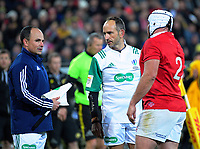 Jaco Peyper (left) makes a point to referee Romain Poite as Rory Best (right) listens in during the 2017 DHL Lions Series rugby match between the Hurricanes and British & Irish Lions at Westpac Stadium in Wellington, New Zealand on Tuesday, 27 June 2017. Photo: Dave Lintott / lintottphoto.co.nz
