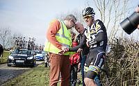 Jay Robert Thomson (ZAF/MTN-Qhubeka) crashed at the Haaghoek and was forced to abandon the race <br /> <br /> Omloop Het Nieuwsblad 2015