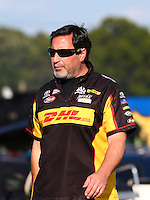 Aug. 16, 2013; Brainerd, MN, USA: Crew member for NHRA funny car driver Del Worsham during qualifying for the Lucas Oil Nationals at Brainerd International Raceway. Mandatory Credit: Mark J. Rebilas-