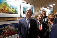Prince Albert II of Monaco (C)   attends the presentation of Oliver Jude's exhibition at the   Castel dell'Ovo in Naples<br /> <br /> <br /> <br /> il Principe Alberto di Monaco inaugura la mostra della sua ex guardia del corpo Oliver Jude nel Castel dell'ovo di Napoli