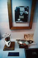 Photograph of American silver designer William Spratling and his silver pieces in the Silver museum or Museo de la Plateria in Taxco, Guerrero, Mexico