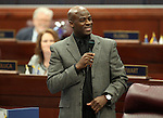 Nevada Assemblyman Kelvin Atkinson, D-North Las Vegas, speaks on the Assembly floor at the Legislature in Carson City, Nev. on Friday, March 11, 2011..Photo by Cathleen Allison