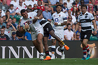 Twickenham, England, 27th May 2018. Quilter Cup, Rugby, Ellis GENGE, [L] tackled by, Niyi ADEOLOKUN, during the   England vs Barbarians, Rugby Match at theRFU. Stadium, Twickenham. UK.  <br /> <br /> &copy; Peter Spurrier/Alamy Live News