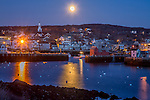Moonset over the town of Rockport, Massachusetts, USA