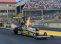 Jul, 20, 2012; Morrison, CO, USA: NHRA top fuel dragster driver Morgan Lucas during qualifying for the Mile High Nationals at Bandimere Speedway. Mandatory Credit: Mark J. Rebilas-