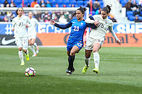 HARRISON, NJ, 04.03.2017 - FRANÇA-ALEMANHA - Sakina Karchaoui (E) da França disputa bola com Hasret Kayikci da Alemanha em  jogo valido pela segunda rodada da SheBelieves Cup no Red Bull Arena na cidade de Harrison nos Estados Unidos neste sábado , 04. (Foto: William Volcov/Brazil Photo Press)