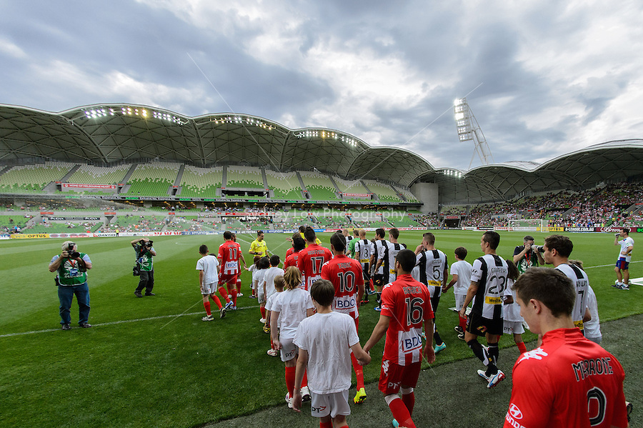 MELBOURNE - 24 NOV:  Players enter the stadium for the round eight A-League match between the Melbourne Heart and Newcastle Jets at AAMI Park on 24 November 2012. (Photo Sydney Low/syd-low.com/Melbourne Heart)