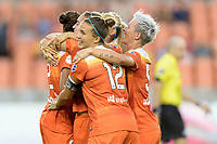 Houston, TX - Saturday July 15, 2017: Poliana Barbosa Medeiros celebrates her goal with her teammates during a regular season National Women's Soccer League (NWSL) match between the Houston Dash and the Washington Spirit at BBVA Compass Stadium.