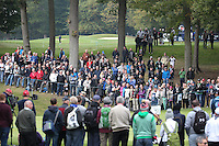 Large crowds gather on the 3rd during the Final Round of the British Masters 2015 supported by SkySports played on the Marquess Course at Woburn Golf Club, Little Brickhill, Milton Keynes, England.  11/10/2015. Picture: Golffile | David Lloyd<br /> <br /> All photos usage must carry mandatory copyright credit (© Golffile | David Lloyd)