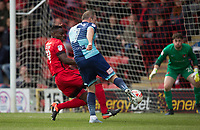 Garry Thompson of Wycombe Wanderers hits a shot at goal during the Sky Bet League 2 match between Leyton Orient and Wycombe Wanderers at the Matchroom Stadium, London, England on 1 April 2017. Photo by Andy Rowland.
