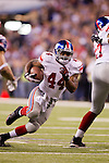 New York Giants running back Ahmad Bradshaw (44) scores the winning touchdown during the NFL Super Bowl XLVI football game against the New England Patriots on Sunday, Feb. 5, 2012, in Indianapolis. The Giants won 21-17 (AP Photo/David Stluka)...